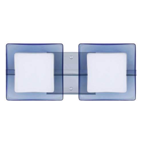 Besa Lighting WS Opal/Blue Chrome Two-Light Bath Fixture