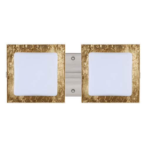 Besa Lighting Series 7735 Opal/Gold Foil Satin Nickel Two-Light Bath Fixture