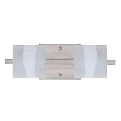 Besa Lighting WS Opal Frost Nickel Two-Light Bath Fixture