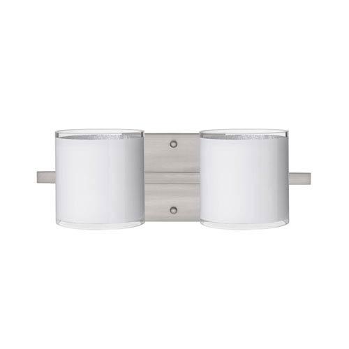 Pogo Satin Nickel Two-Light LED Bath Vanity with White Glass