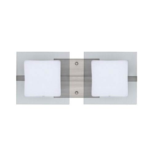 Alex Satin Nickel Two-Light LED Bath Vanity with Opal and Clear Glass