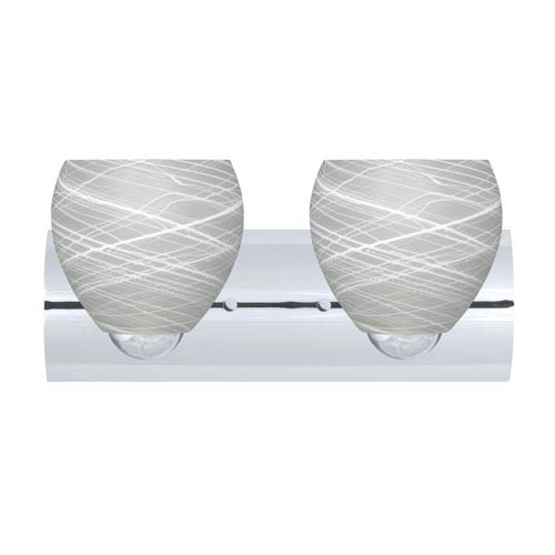 Besa Lighting Bolla Chrome Two-Light Bath Fixture with Cocoon Glass