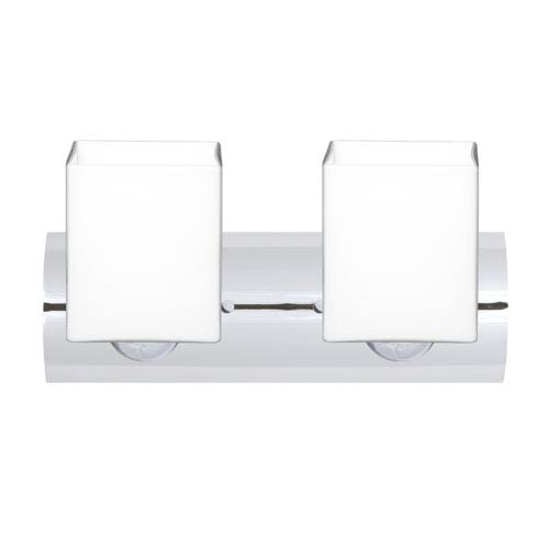 Rise Wall Chrome Two-Light Bath Fixture with Opal Matte Glass