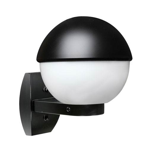 Costaluz 3078 Series Aluminum One-Light Incandescent Wall Sconce with Black Glass