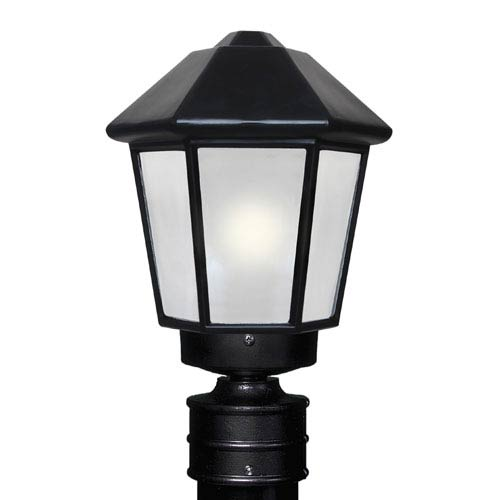 Besa Lighting Costaluz 3272 Series Aluminum Incandescent Outdoor Post Light with Black Glass