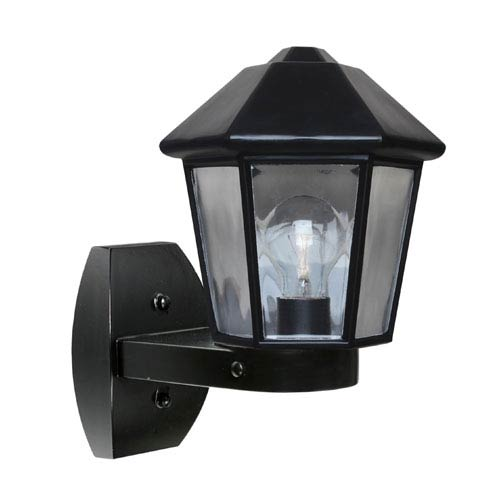 Besa Lighting Costaluz 3272 Series Aluminum One-Light Incandescent Wall Sconce with Black Glass