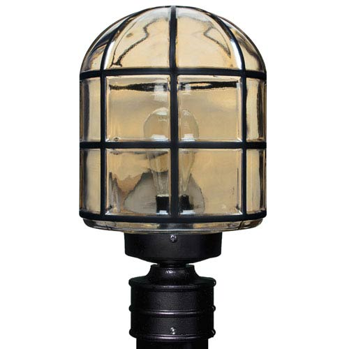 Besa Lighting Costaluz 3417 Series Aluminum Incandescent Outdoor Post Light with Black Glass