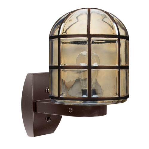 Besa Lighting Costaluz 3417 Series Aluminum One-Light Incandescent Wall Sconce with Bronze Glass