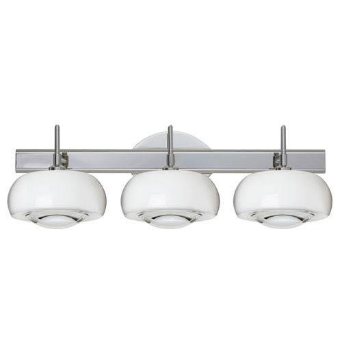 Focus Chrome Three-Light LED Bath Vanity with Clear Glass