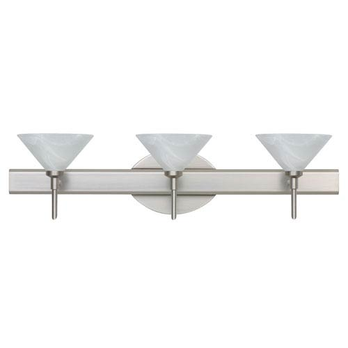 Besa Lighting Kona Satin Nickel Three-Light Bath Fixture with Marble Glass