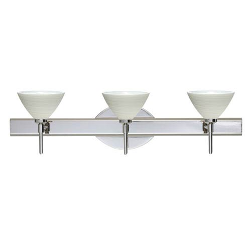 Besa Lighting Domi Chrome Three-Light Bath Fixture with Chalk Glass