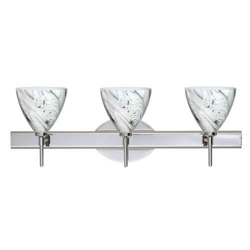 Besa Lighting Mia Chrome Three-Light Bath Fixture with Marble Grigio Glass