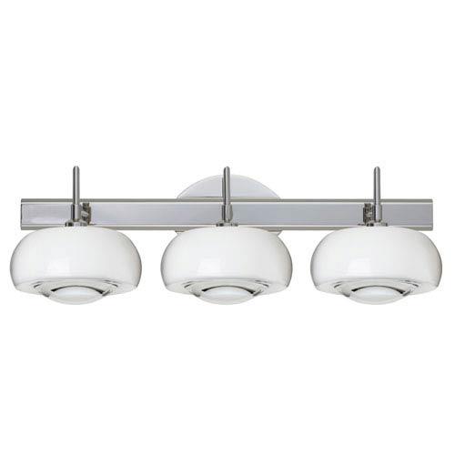 Besa Lighting Focus 3SW Chrome Three-Light Bath Fixture with Clear Glass