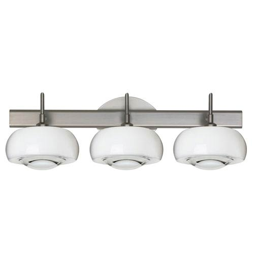 Focus Satin Nickel Three-Light LED Bath Vanity with Clear Glass