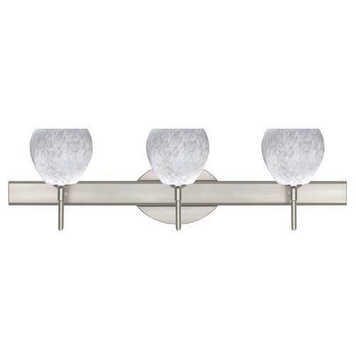 Tay Tay Satin Nickel Three-Light Bath Fixture with Carrera Glass