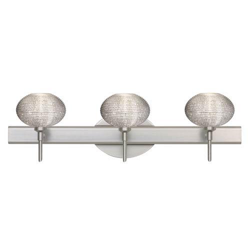Lasso Satin Nickel Three-Light Bath Fixture with Glitter Glass