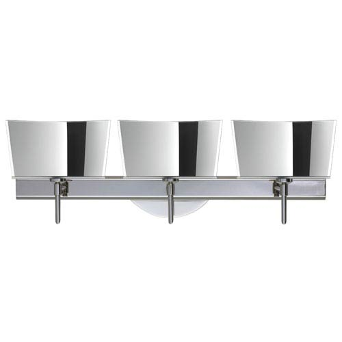 Besa Lighting Groove Chrome Three-Light Bath Fixture with Mirror-Frost Glass