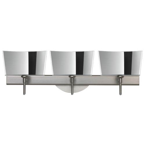 Besa Lighting Groove Satin Nickel Three-Light Bath Fixture with Mirror-Frost Glass