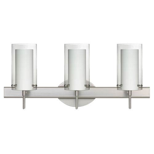 Pahu 4 Satin Nickel Three-Light LED Bath Vanity with Clear Glass