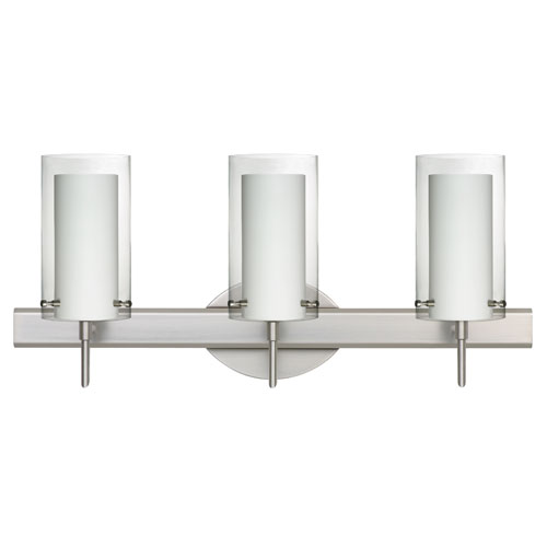 Besa Lighting Pahu Satin Nickel Three-Light Bath Fixture with Clear and Opal Glass