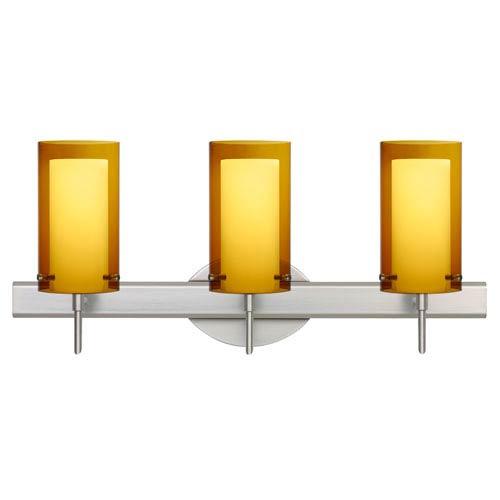 Besa Lighting Pahu Satin Nickel Three-Light Bath Fixture with Transparent Armagnac and Opal Glass
