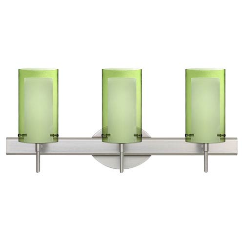 Pahu Satin Nickel Three-Light Bath Fixture with Transparent Olive and Opal Glass