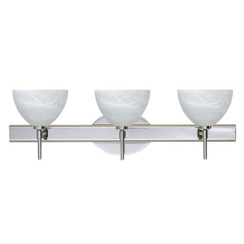 Brella Chrome Three-Light LED Bath Vanity with Marble Glass