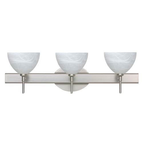 Brella Satin Nickel Three-Light LED Bath Vanity with Marble Glass