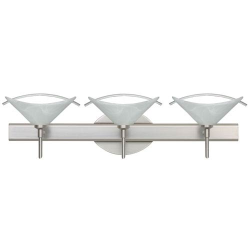 Hoppi Satin Nickel Three-Light LED Bath Vanity with Marble Glass and Arched Rod Accent