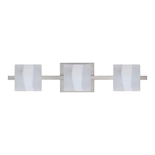 Besa Lighting WS Opal Frost Nickel Three-Light Bath Fixture