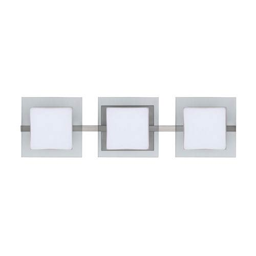 Alex Satin Nickel Three-Light LED Bath Vanity with Opal and Clear Glass