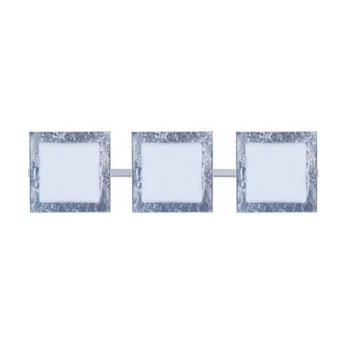 Alex Chrome Three-Light LED Bath Vanity with Opal and Silver Foil Glass