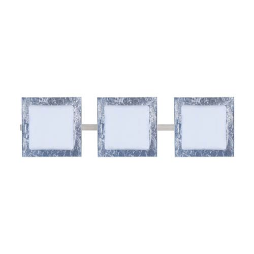Alex Satin Nickel Three-Light LED Bath Vanity with Opal and Silver Foil Glass
