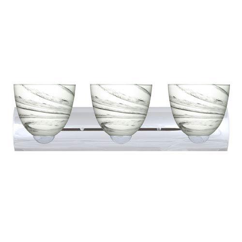 Sasha Chrome Three-Light Bath Fixture with Marble Grigio Glass