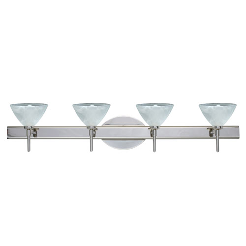 Besa Lighting Domi Chrome Four-Light Bath Fixture with Marble Glass
