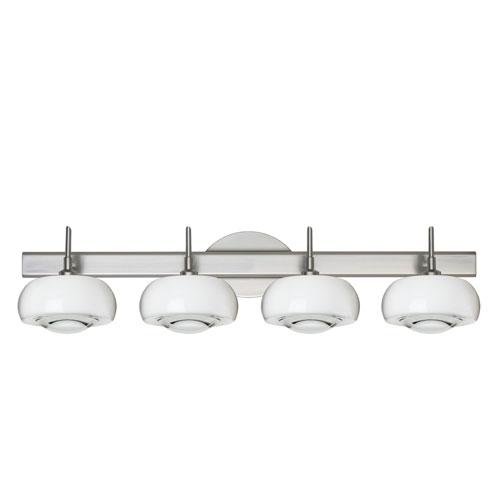 Besa Lighting Focus 4SW Satin Nickel Four-Light Bath Fixture with Clear Glass