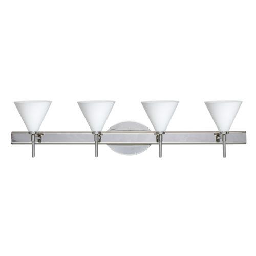 Besa Lighting Kani Chrome Four-Light Bath Fixture with Opal Matte Glass