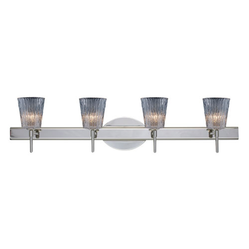 Nico Chrome Four-Light Bath Fixture with Clear Stone Glass