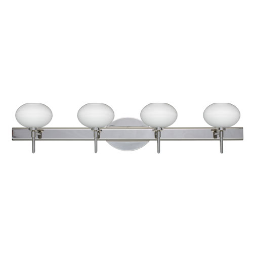 Besa Lighting Lasso Chrome Four-Light Bath Fixture with Opal Matte Glass