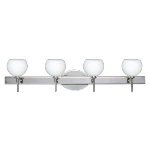 Besa Lighting Palla Chrome Four-Light Bath Fixture with Opal Matte Glass