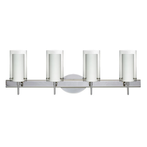 Besa Lighting Pahu Chrome Four-Light Bath Fixture with Clear and Opal Glass