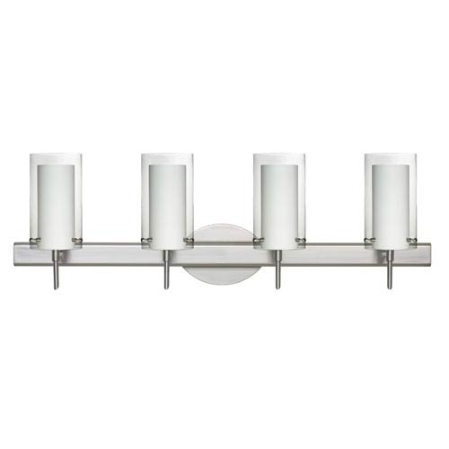 Besa Lighting Pahu Satin Nickel Four-Light Bath Fixture with Clear and Opal Glass