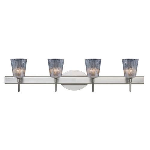 Nico 4 Satin Nickel Four-Light LED Bath Vanity with Clear Stone Glass