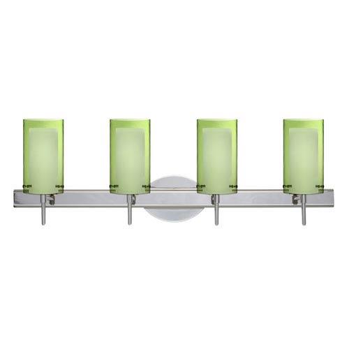Pahu 4 Chrome Four-Light LED Bath Vanity with Transparent Olive Glass