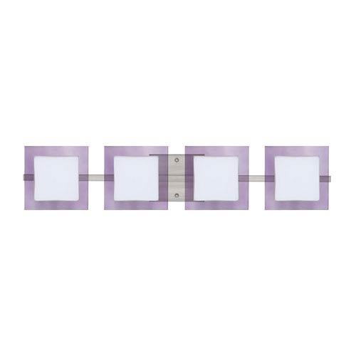 Besa Lighting WS Opal/Amethyst Nickel Four-Light Bath Fixture