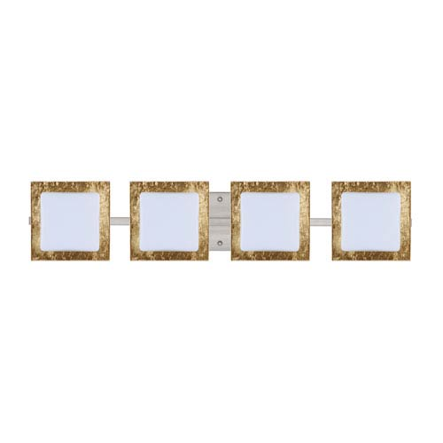 Besa Lighting Series 7735 Opal/Gold Foil Satin Nickel Four-Light Bath Fixture