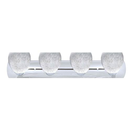 Besa Lighting Bolla Chrome Four-Light Bath Fixture with Carrera Glass