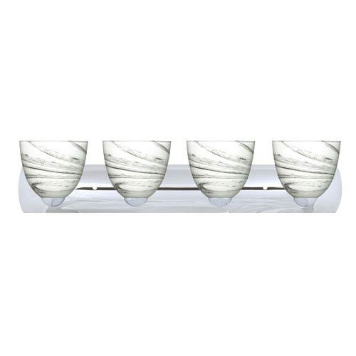 Sasha Chrome Four-Light Bath Fixture with Marble Grigio Glass