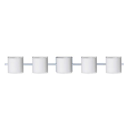 Besa Lighting Pogo Chrome Five-Light Bath Fixture with White and Inner Silver Glass
