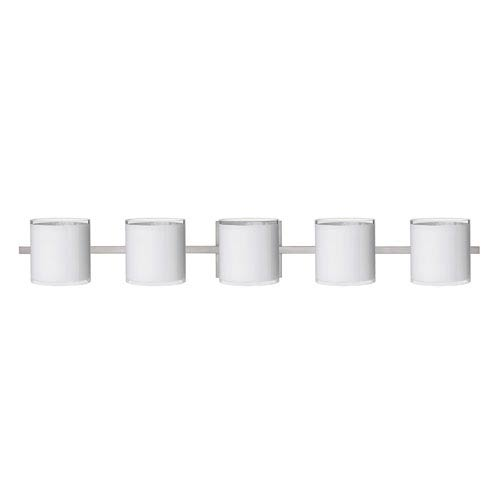 Pogo Satin Nickel Five-Light Bath Fixture with White and Inner Silver Glass